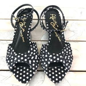 Alice + Olivia Alexi Shoes Black White Polka Dot